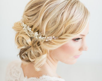 Wedding Hair Vine,  Gold Bridal Headpiece, Bridal Hair Accessory, Pearl Hair Vine, Wedding Hairpiece