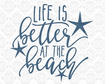 Life Is Better At The Beach Lake Ocean Mountains SVG STUDIO Ai EPS Scalable Vector Instant Download Commercial Use Cricut Silhouette
