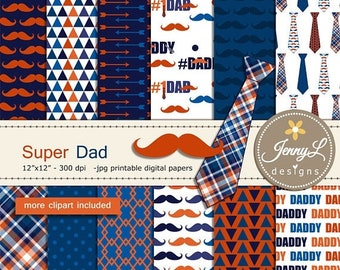 50% OFF Father's Day Digital Papers and Clipart SET, mustache, necktie for digital scrapbooking, invitation, cake topper, planner