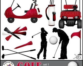 Golf Set set 1 - Digital Clipart Graphics - 10 png files - 2 Golf carts, silhouettes, clubs, ball tees, flag, golf bag {Instant Download}