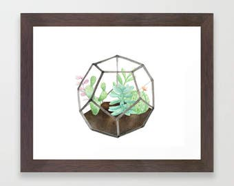 Succulent terrarium, Mother's Day gift, succulent watercolor, terrarium, watercolor print, printable art, botanical print, gift for her