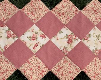 Peach Floral Table Runner