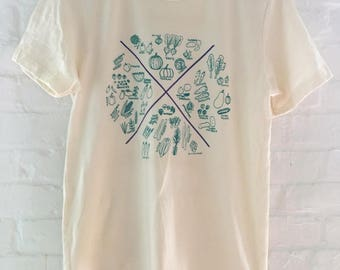 Veggie T-Shirt, Food Shirt, Vegetable Shirt, Screen Print Shirt, Soft Style Tee