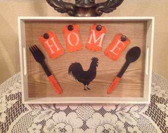 Rooster kitchen tray country cottage chic housewarming gift home decor kitchen tray rooster lover handmade ready to ship home decor eat tray