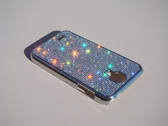 Galaxy S4 Clear Diamond Rhinestone Crystals on Silver Chrome Case. Velvet/Silk Pouch Bag Included, Genuine Rangsee Crystal Cases.