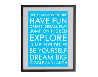 Life is An Adventure Blue or Black Wall Print Bus Scroll Wall Art Home Decor Kids Bedroom Typography Poster
