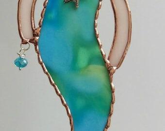 Stained Glass Mermaid LG Suncatcher Ornament, Mermaid, Whimsical Mermaid