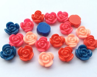 40pcs 12mm Roses Resin Flat Back Cabochons Valentine Love F014x2