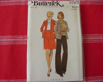 1970s Butterick Pattern 3787  Misses' Loose Fitting, Unlined Jacket, Flared Skirt,Flared Pants, Size 16, Bust 38, Uncut