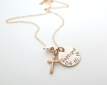 Personalized Baptized Necklace - Girls Cross Necklace - Baptism Gift - First Communion Gift - Personalized Necklace