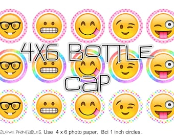 """emojis silly colors rainbow 4x6 - 1"""" circles, bottle cap images, stickers"""