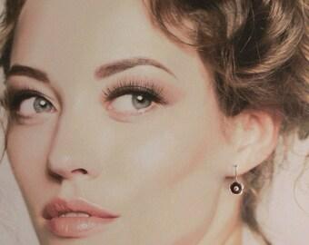 Flower earrings, Floral earrings, Maroon earrings, Deep red earrings, Flower jewellery, Floral jewellery, Silver flower jewel, Silver flower