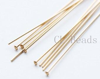 10pcs 14K Gold Filled Head Pins - 50mm (2 Inch)