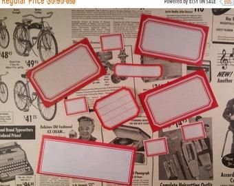 ON SALE 12 Assorted Vintage Dennison Gummed Labels | Red Border Labels