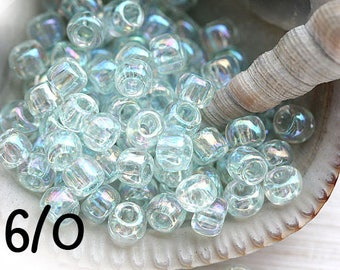 Light Blue seed beads TOHO size 6/0 Dyed Rainbow Alpine N 170 pale water blue glass beads - 10g - S477