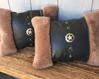 Hunter green leather with tan sheepskin pillow ONE ONLY