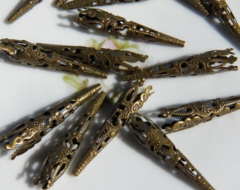 9X40mm Antique Bronze Fancy Filigree Bead Cones, 12 PC (INDOC11)