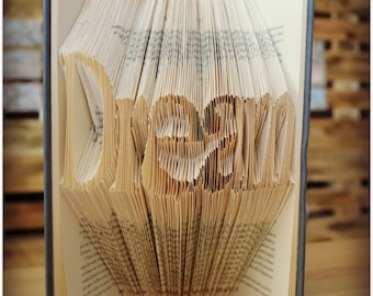 Your Name / word folded book for gift , folded book art, decor, home decor, personalized book art gift, book folding