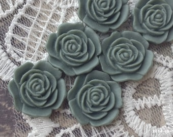 16 mm Flat Back Grey Color Rose Resin Flower Cabochons (.am)(ZZB)