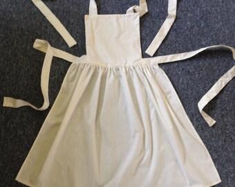Handmade Ladies White Victorian Edwardian Style Maid Full Apron, size 6-10, 12-16, 18-22, 24-28