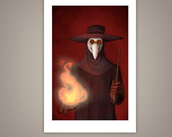 The Plague Doctor, Giclee Illustration Art Print, 4x6, Halloween, Horror, Macabre, History, Eerie, Medicine Man, Matte Finish, Home Decor