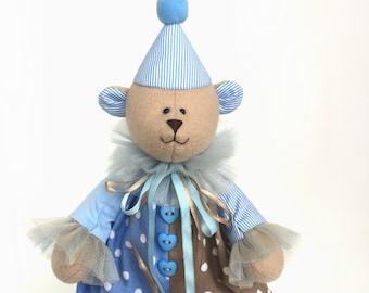 Clown bear blue and beige decor blue nursery decor circus theme party Collectible Teddy Bear