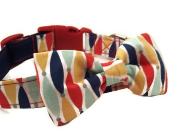 Colorful Dog Collar and  Bow Tie Set, The Jester, Adjustable sizes for extra small, small, medium, large, and extra large, dogs Handmade