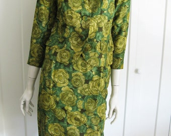 Vintage 60's Watercolor  Green Silk Floral 2 Piece Skirt  and Jacket// Suit Sz Small