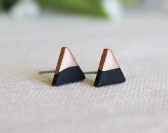 Rose Gold Dipped Triangle Earrings / Matte Black Earrings / Hypoallergenic Earrings / Stainless Steel Earrings / Titanium Earrings