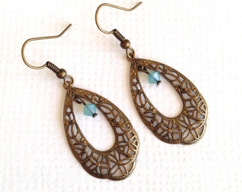 Retro Antique Style Filigree Swarovski Opal Crystal Earrings (Brass),  Elegant Earrings, Filigree Tear Drop Shape Earrings, Christmas Gift