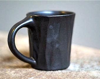 Hand Carved Ceramic Mug, Pottery Mug, Black Ceramic Mug, Groom Gift, Coffee Gift, Foodie Gift, Housewarming Gift, Handmade Ceramic Mug