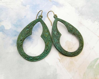 Green earrings Moroccan earrings bohemian earrings patina hoop earrings