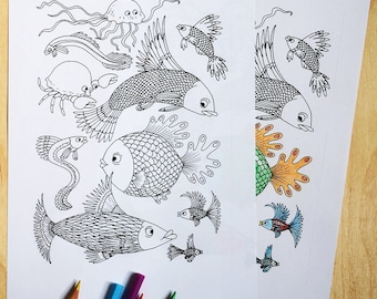 Sea creatures, colouring sheet, sea,colouring page, download,