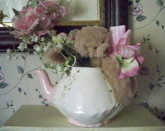 Teapot with Bear and Flowers - Handmade - Artist Signed