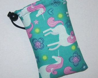 """Padded Pouch, Pipe Pouch, Teal Unicorn, Glass Pipes, Pipe Case, Padded Pipe Bag, Magical, Stoner Gifts, 420, Smoke Accessory - 5"""" DRAWSTRING"""