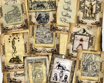 15 Werewolf Manuscript Digital Pages - Monster Horror Halloween Spell Book, Scrapbook Paper, Book of Shadows, Graphics, medieval