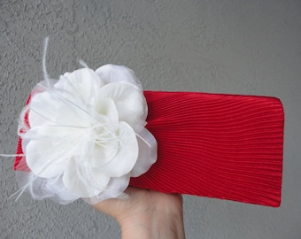 Bridal Red Satin Pleated Evening Clutch Adorned With Big Ivory Flower and Feathers