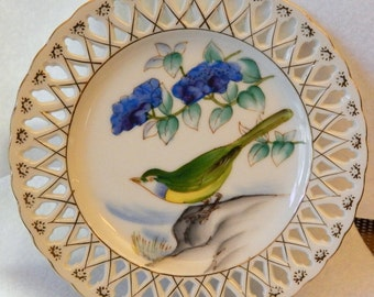 Beautiful pair of Hand Painted UCAGCO Bird plates from Japan