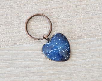 Big dipper keychain Heart keychains Girlfriend gift Boyfriend Keychain Anniversary Constellation Ursa Major Astronomy Cosmic His her