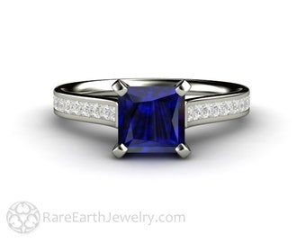 Princess Cut Blue Sapphire Solitaire Engagement Ring with Square Channel Set Diamond Accents September Birthstone