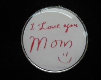 "MAGNET fancy ""I love you Mom"" set in resin"