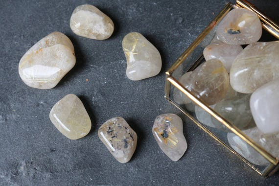 Rutilated Clear Quartz Tumbled Stones, Clear Quartz Tumbled Stone, Gold Rutile in Quartz, Chakra Stone, Tumbled Stone, Crystal Grid, Reiki