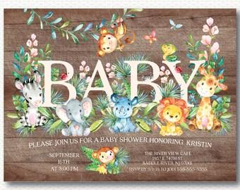 Safari Baby Shower Invitation, Wood, Jungle, Safari, Baby Shower, Cute, Monkey, Elephant, Lion, Giraffe, Cute, Digital Printable