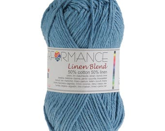 10 x 50g knitted yarn linen blend, #90 Blue