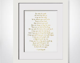 For What Its Worth|F Scott Fitzgerald Quote|Its Never Too Late|Fitzgerald Poem|Literary Gift Print|Literary Print Gift|Literary Quote