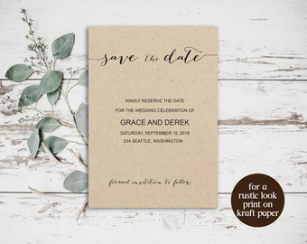Save the Date Printable Template, Wedding Template, DIY Save the Date, Printable Save Date, Invitation Template, Wedding Printable, BD6040