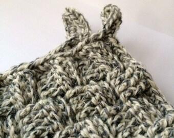Crochet pot holders in waffle pattern.