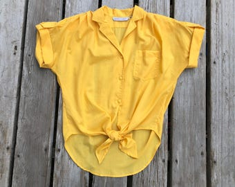 Yellow Tie Front Vintage Short Sleeved Button Up Shirt