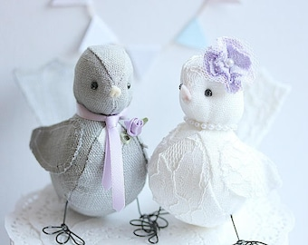 Wedding cake topper, Lovebirds, Wedding decoration, Lavender, Purple, Wedding Bird cake topper, Fabric birds, Customized Order