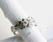 White Sapphire Twig Rings, Leaf Ring, Silver Branch Ring,Twig Ring, Leaf Engagement Ring